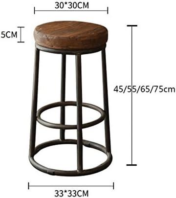 fournir Chaise De Bar en Bois Massif Rétro Vieux Tabouret en Fer Forgé Chaise De Café Chaise Chaise De Bureau Tabouret De Bar Rond Simple Place (Taille : 75CM)
