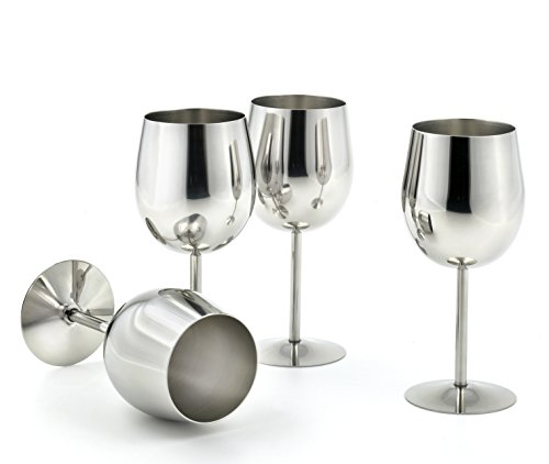 StainlessLUX 77374 4-piece Brilliant Stainless Steel Wine Glass Set / Wine Tasting Goblet Set - Quality Drinkware for Your Enjoyment (Wine Glasses Stainless Steel compare prices)