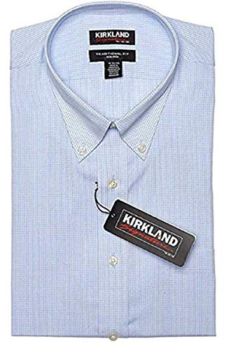 Kirkland Signature Men's Tailored Fit 100% Cotton Non-Iron Spread Collar Dress Shirt (Light Blue  White Mini Check, 17.5 x 36/37) in USA