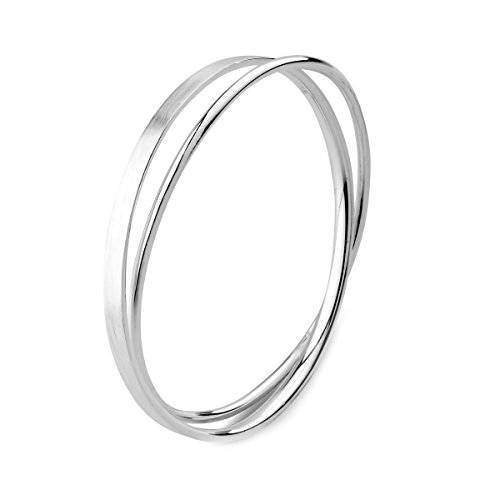 Merdia S990 Solid Sterling Silver Polished and Rough Twisted Bangle Bracelet for Women and Girl -Inner 6CM