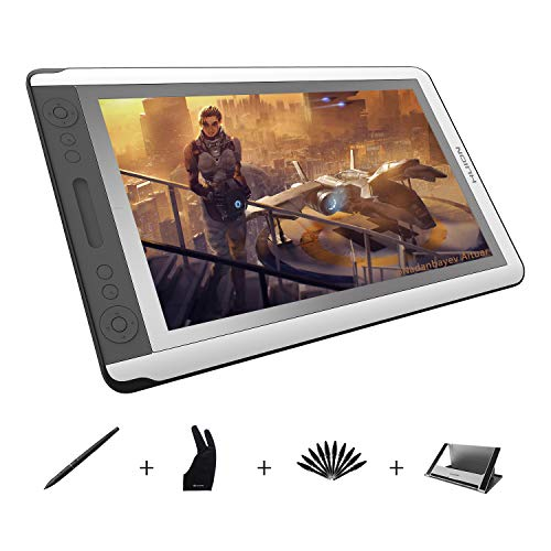Huion Kamvas GT-156HD V2 Graphics Drawing Tablet with Etched Glass HD Screen 3-in-1 Cable 14 Express Keys and 1 Touch Bar
