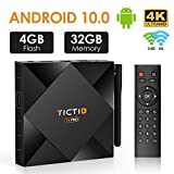 TICTID Android 10.0 TV Box 4GB RAM 32GB ROM T6 Pro TV BOX Allwinner H616 64-bit Quad core ARM Cortex A53 CPU, Dual-WiFi 2.4GHz/5GHz with External Antenna, 100M LAN, BT 4.0, 4K 8K Android Smart TV Box Media Player