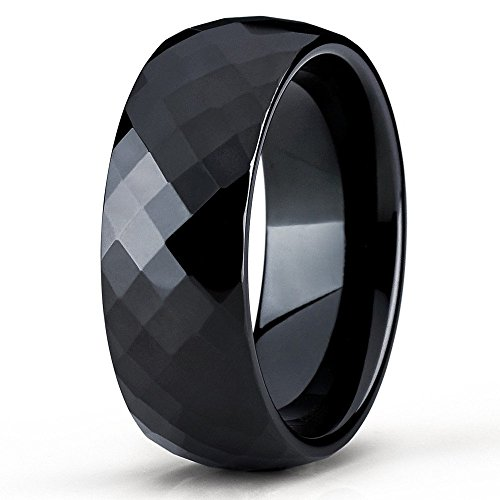 Faceted Black Ceramic Ring - Silly Kings 8mm Black Tungsten Carbide Wedding Band Diamond Cut Design Ring Comfort Fit Men & Women