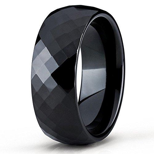 Silly Kings 8mm Black Tungsten Carbide Wedding Band Diamond Cut Design Ring Comfort Fit Men & Women