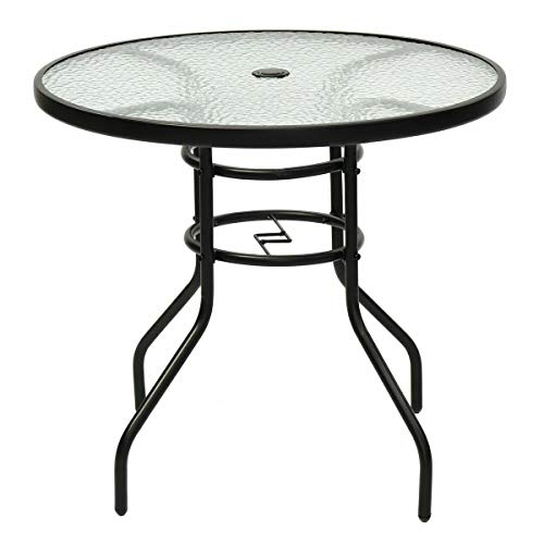 """NanaPluz Round 32"""" Black Steel Frame Pool Yard Garden Furniture Outdoor Patio Dining Table Tempered Glass Top w/Umbrella Hole with Ebook from NanaPluz"""