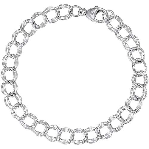 - Rembrandt Charms Large Double Link Dapped Curb Classic Bracelet