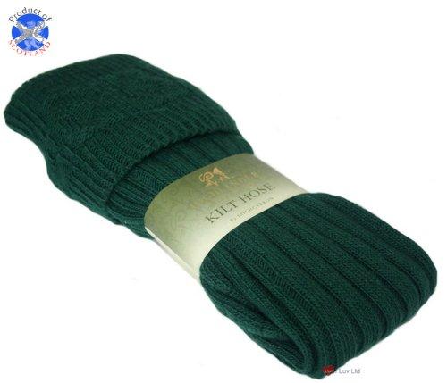 Chaussettes de tuyaux Kilt tricoté Full Length Bouteille option verte 4