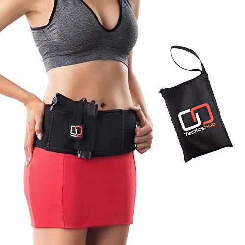 Neoprene Gun Bag - Tacticshub Belly Band Holster for Concealed Carry - Gun Holster for Women and Men That fits Glock, Smith Wesson, Taurus, Ruger, and More - Waistband Holster for Pistols and Revolvers