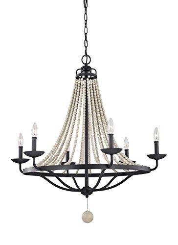 (Feiss F3129/6DWZ/DWG Nori Candle Bead Chandelier Lighting, Bronze, 6-Light (33
