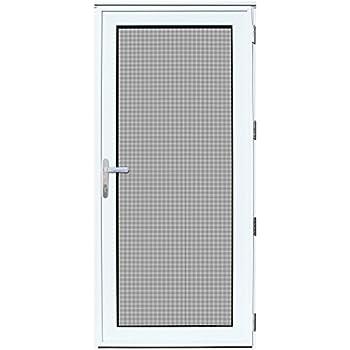 Titan 36x80 Meshtec Ultimate Security Storm Door   Aluminum Full View with  Meshtec Advanced Screen & Glass  Recessed Mount   Right hand   3pt lock