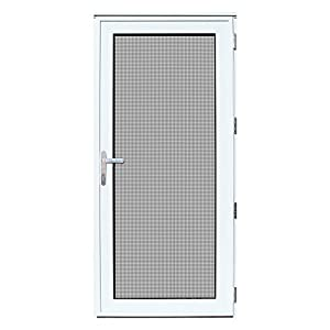Titan 36 In. X 80 In. White Recessed Mount Right Hand Security Storm Door  With Meshtec Screen And Tempered Safety Glass