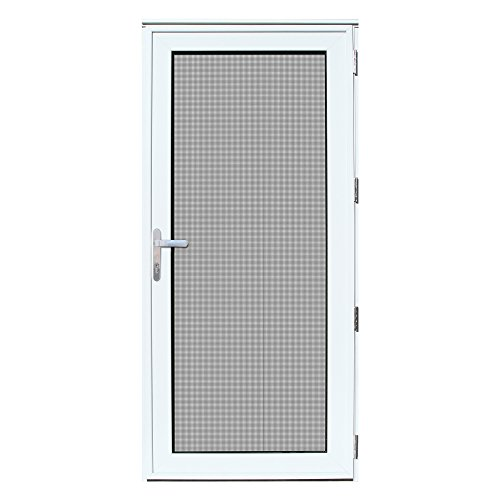 (Titan 36x80 Meshtec Ultimate Security Storm Door | Aluminum Full View with Meshtec Advanced Screen & Glass| Recessed Mount | Right hand | 3pt lock system & high tensile-strength stainless steel screen)