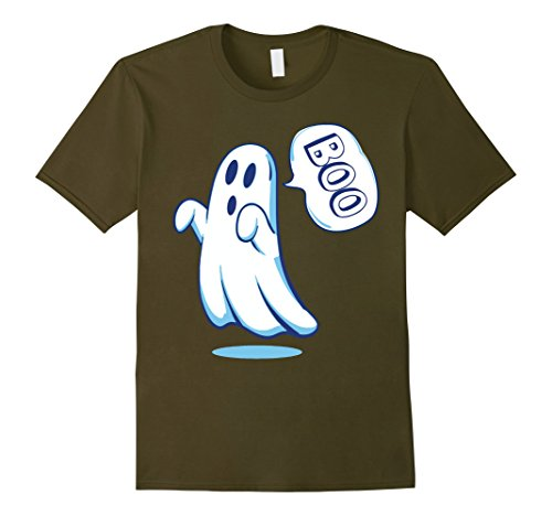 Mens Spooky Halloween Scary Ghost Emoji Face Boo Cute Shirt Large Olive
