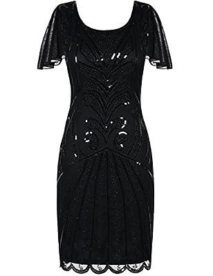 Kayamiya Women's Gatsby Dress Vintage 1920s Sequin Art Deco Cocktail Flapper Dress