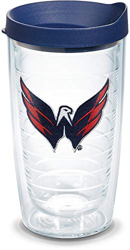 Tumbler Washington Nationals - Tervis 1044693 NHL Washington Capitals Primary Logo Tumbler with Emblem and Navy Lid 16oz, Clear