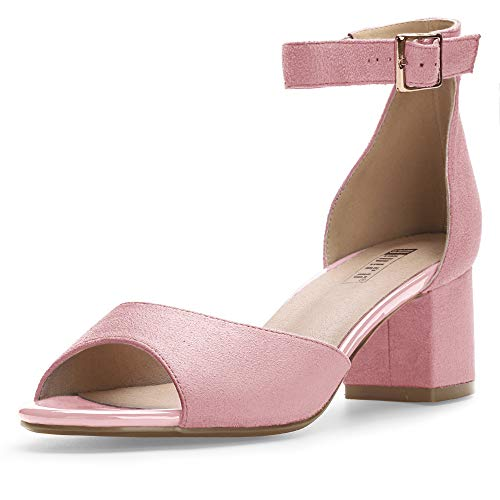 IDIFU Women's IN2 Candie Low Chunky Block Heel Pump Heeled Sandals Buckle Ankle Strap Peep Toe Dress Shoes (11 M US, Pink Suede)