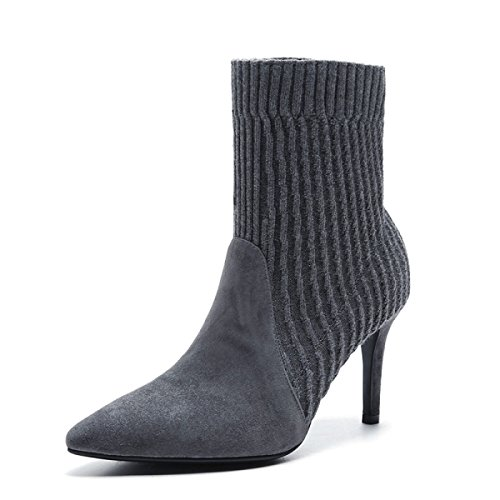 GTYW Women Women's Boots High Heels Ladies Fall Winter Fashion New Stitching Socks Pointed Thin Heel Plus Velvet Boots Leather Grey