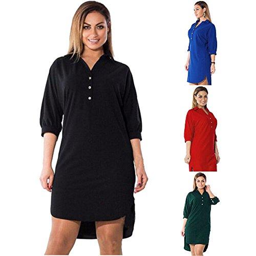 Ladies Club Hat Welcome Flag (LUNIWEI Women Plus Size 3/4 Sleeve T Shirts Mini Dress)