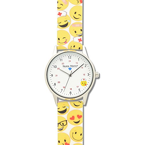 Nurse Mates Women's 1″; Strap Nurse Watch Emoji