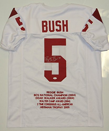 (Reggie Bush Autographed White Stat Jersey- JSA W Authenticated)