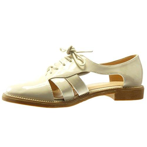 Angkorly Damen Schuhe Sandalen Brogue Schuh - Offen - String Tanga - Fertig Steppnähte Blockabsatz 2 cm Beige