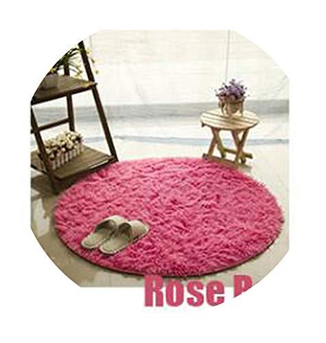 Gray Carpets for Living Room Kilim Carpet Long Plush Rugs for Bedroom Shaggy Area Rug,Rose Red,Diameter - Tiles Kansas City Carpet