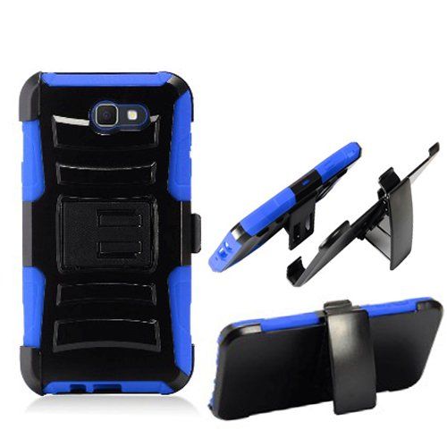 Phone Case Verizon Samsung Galaxy-J7 Prepaid (SMJ727VZKPP) J7-V/Galaxy-J7-Perx (Sprint) / Galaxy-J7-Sky-Pro Rugged Cover Kickstand Combo Holster Belt Clip (Holster-Blue Edge Case) For Sale