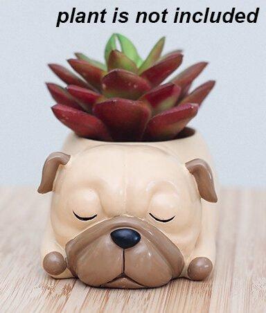 Cuteforyou Cute Animal Shaped Cartoon Home Decoration Succulent Vase Flower (Pug Garden)