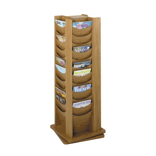 Safco Products 4335MO Solid Wood Rotating Display, 48 Pocket, Medium Oak by Safco Products