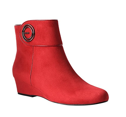 Impo GOYA Dress Wedge Bootie Scarlet Red Faux Suedy Zsl0WXd