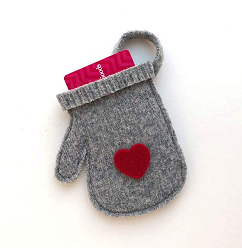 Gift Card Holder - Christmas Holiday Tree Ornament - Felted Gray Wool Mitten with Red Heart