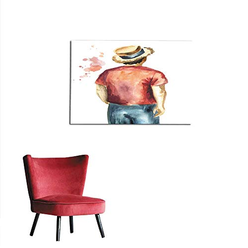 homehot Corridor/Indoor/Living Room Guy in The red Shirt and in The Straw hat Standing with his Back to The viewer Isolated on White Background Watercolor Hand Drawn Illustration Mural 48