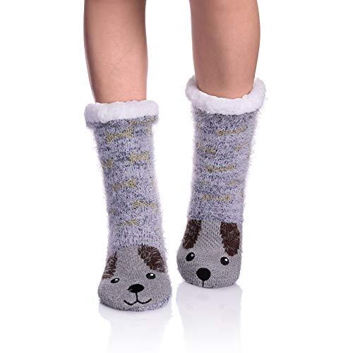NOVCO Womens fuzzy Cozy Cute Cartoon Animal Non-Slip Winter Thermal Slipper Socks (Dog 02)