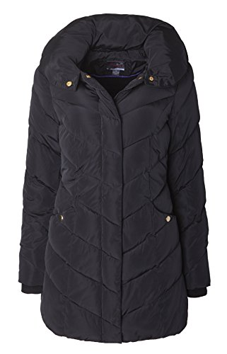 Sportoli Womens Packable Winter Chevron Quilted Fleece Lined Puffer Coat with Hood - Black (Size 3X)