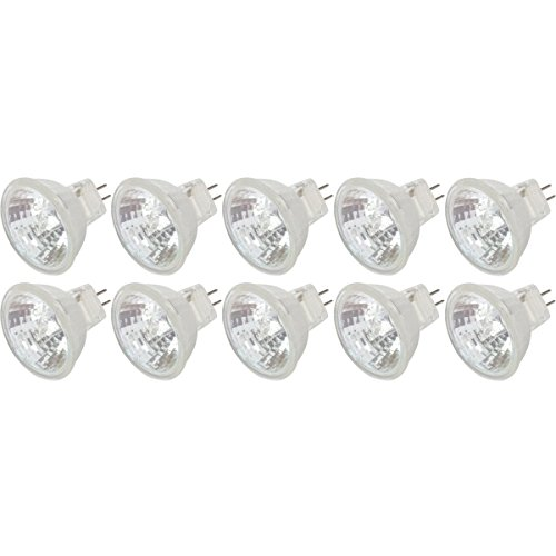 Simba Lighting MR11 20 Watt FTD 12 Volt Halogen Spotlight Bulbs (10 Pack) 2-Pin 220lm 30° Beam Angle for Accent, Track, and Fiber Optics, GU4 Bi-Pin Base, Glass Cover, Warm White 2700K Dimmable