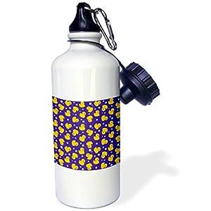 """3dRose wb_112952_1 """"Cute Rubber Duckie pattern Yellow ducks on purple navy blue Kawaii ducky duck Duckies and bubbles"""" Sports Water Bottle, 21 oz, White"""