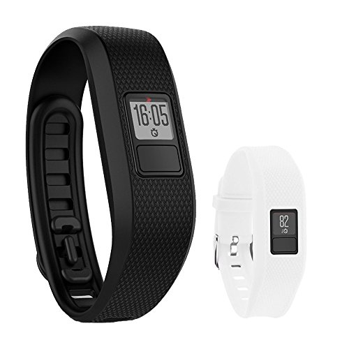 Garmin Vivofit 3 Activity Tracker Fitness Band - Regular Fit (Black) with Extreme Speed Silicone Replacement Wrist Band Strap (White) by Beach Camera