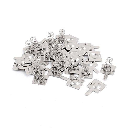 EbuyChX 17 Pairs 1 x AA Baterya Positibo Negatibo Spring Plate Silver Tone ()