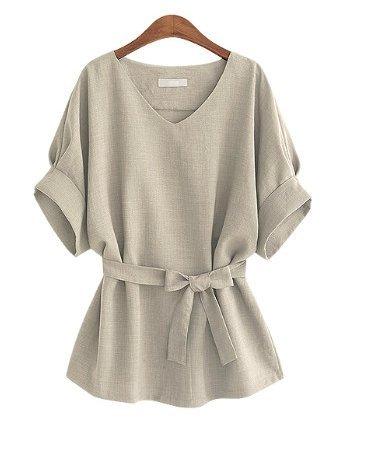 Gris claro en algodón y lino playera Retro Mujer V Cuello Camisa loose larga sección Lino Camisa Plus grasa para aumentar...