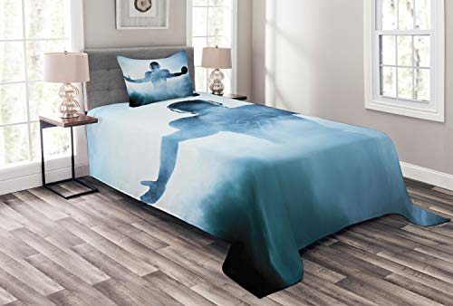 Ambesonne Sport Bedspread, Heroic Shaped Rugby Player Silhouette Shadow Standing in Fog Playground Global Sports Photo, Decorative Quilted 2 Piece Coverlet Set with Pillow Sham, Twin Size, Blue