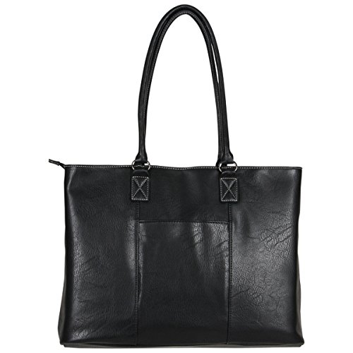 """Kenneth Cole Reaction Women's Casual Fling Pebbled Faux Leather 16"""" Laptop Business Travel Tote, Black, Top Zip"""