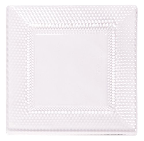 Square Dinner Plastic Plate (Party Joy 'I Can't Believe It's Plastic' 200-Piece Plastic Dinner Plate Set | Square Crystals Collection | Heavy Duty Premium Plastic Plates for Wedding, Parties, Camping & More (Clear))