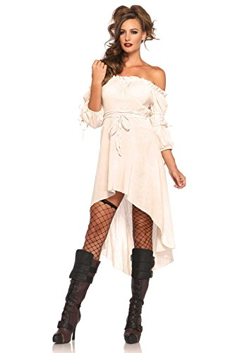 Leg Avenue Women's High Low Peasant Dress Costume, Ivory, Small/Medium