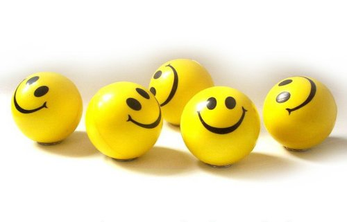 Smiley Stress Ball - Dazzling Toys Happy Smile Face Stress Ball - Pack of 24 - Neon Smile Face Relaxable Squeeze Balls in Yellow Color