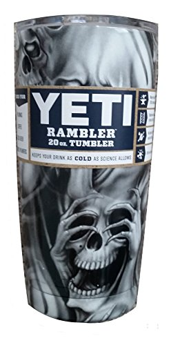 Custom YETI Coolers Hydro Dipped Insulated Stainless Steel 20 Ounce (20 oz) (20oz) Rambler Tumbler Travel Cup Mug with Lid (Dipped Skulls)
