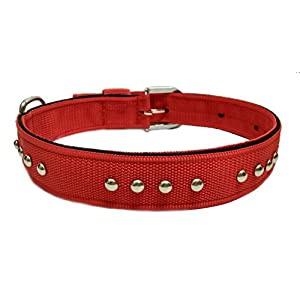 Sollar's Nylon Stud Durable Dog Collar Dog Belt Red Extra Large 1.5 Inch Width