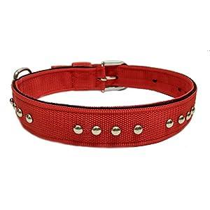 Sollar's Nylon Stud Durable Dog Collar Dog Belt Red Extra Large 1.5 Inch Width