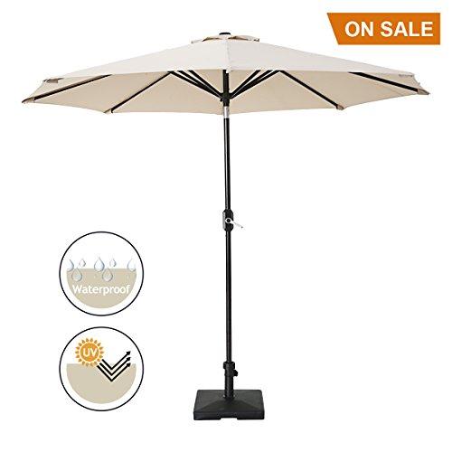 SUMBEL 10' Patio Umbrella Outdoor Table Market Umbrella Aluminum Pole Push Button Tilt with 8 Sturdy Steel Ribs, Beige