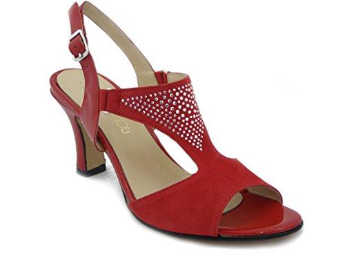 Sandalo elegante Osvaldo Pericoli, scarpa in CAMOSCIO COLORE rosso con tacco 7cm. e suola in vero cuoio con antiscivolo - estivo 406S1R