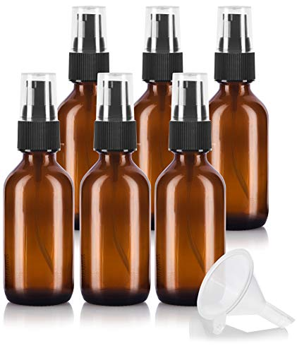 (2 oz Amber Glass Boston Round Treatment Pump Bottle (6 pack) + Funnel for essential oils, aromatherapy, food grade, bpa free)